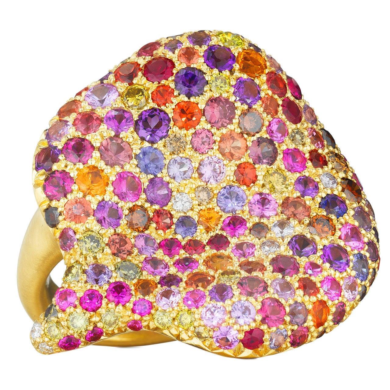Naomi Sarna Amethyst Garnet Ruby Sapphire Diamond Gold Autumn Ring