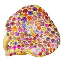 Naomi Sarna Amethyst Garnet Ruby Sapphire Diamond Gold Autumn Ring