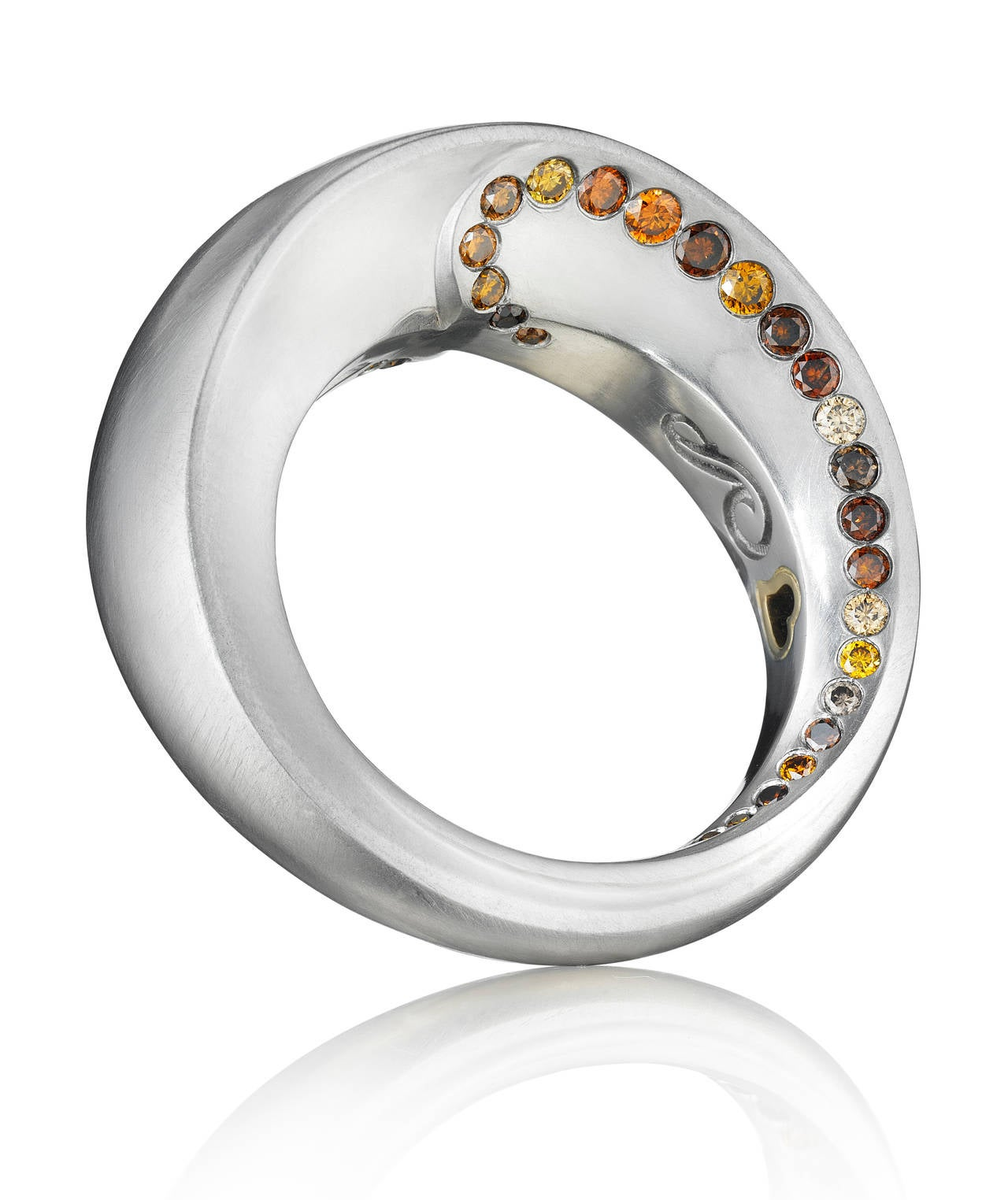 Modern Naomi Sarna Award-Winning Golden Orange Brown Diamond Platinum Ring For Sale