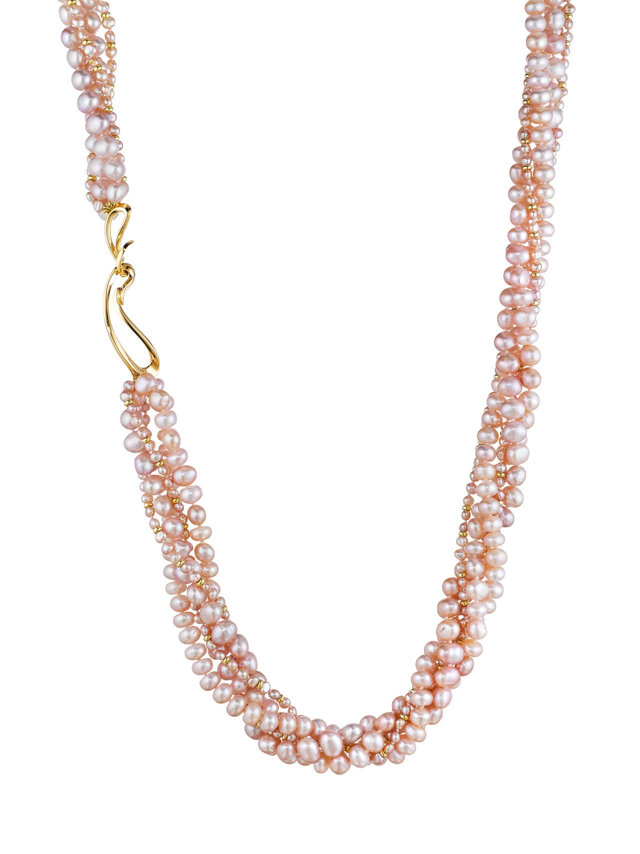 Naomi Sarna Five Strand Pink Pearl Gold Necklace 2