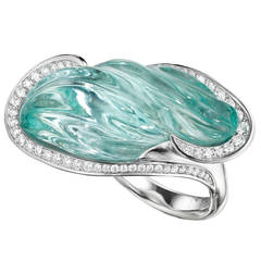 Naomi Sarna Award Winning Hand-Carved Topaz Diamond Palladium Ring