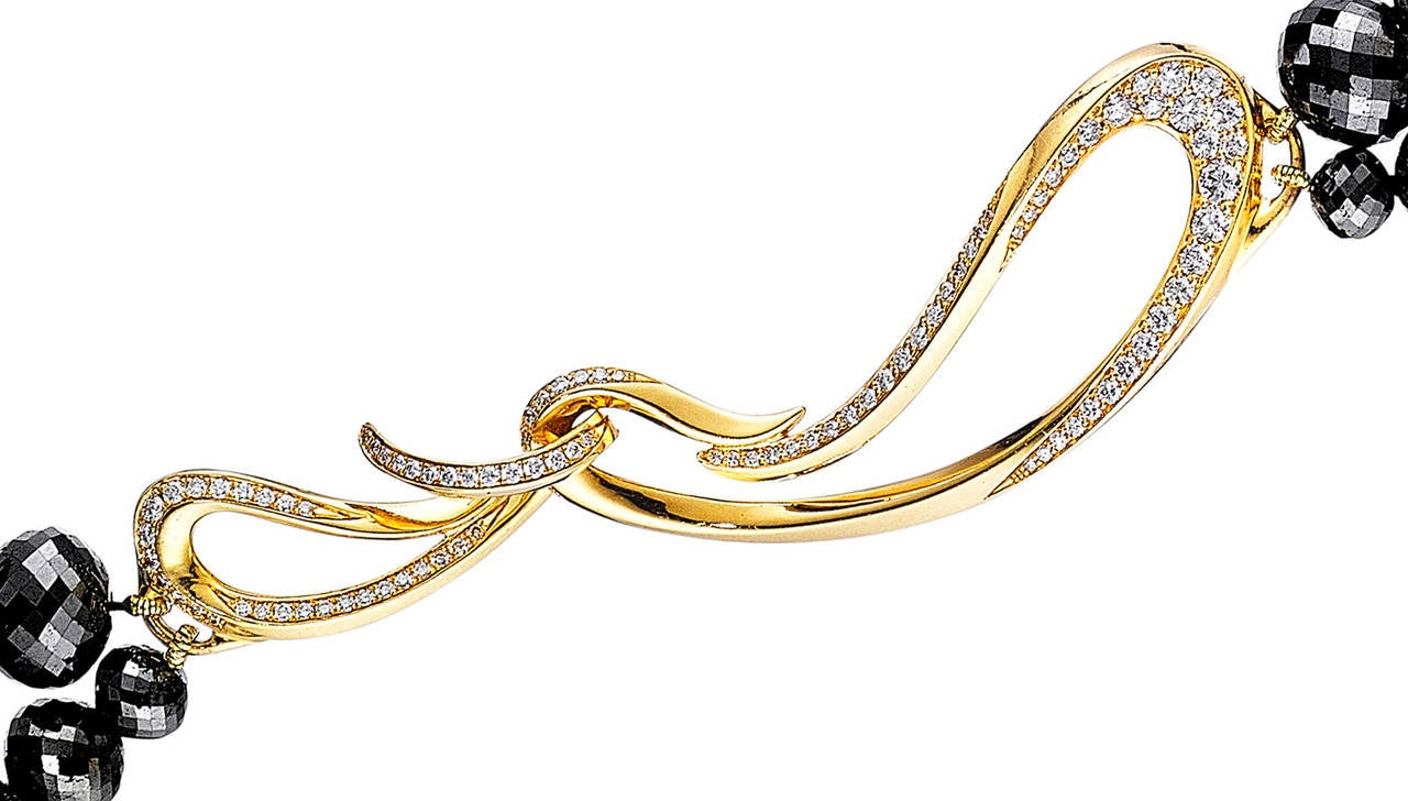 Women's Naomi Sarna Black Diamond Necklace with 18K Gold and White Diamond Clasp For Sale