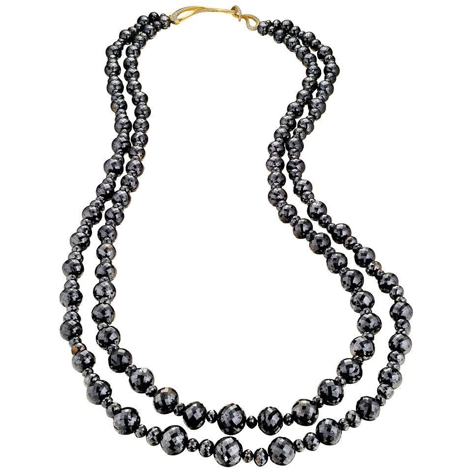 Naomi Sarna Black Diamond Necklace with 18K Gold and White Diamond Clasp For Sale