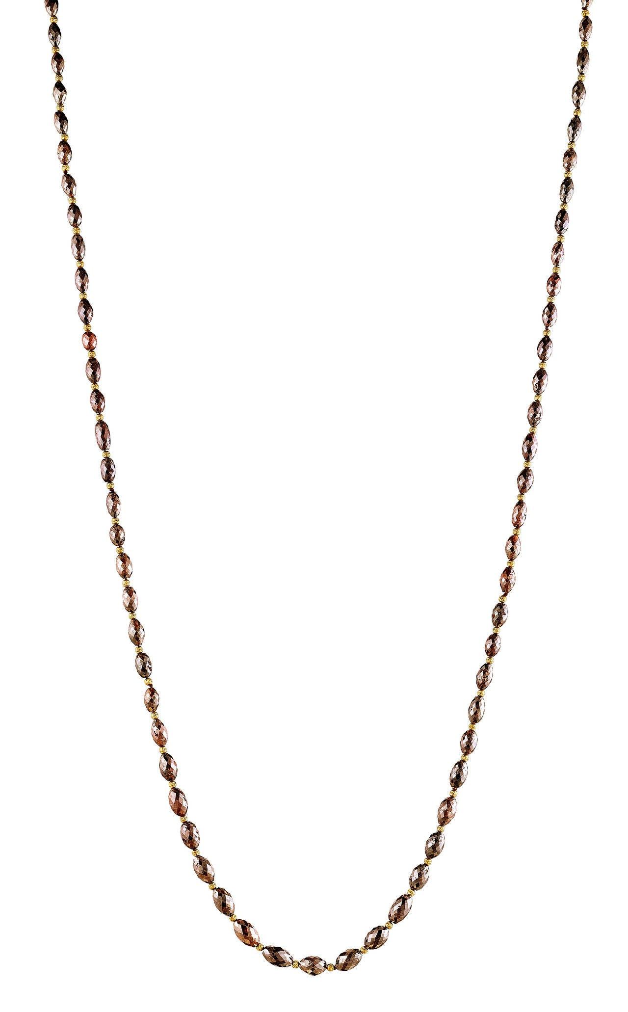 Naomi Sarna Brown Diamond Gold Bead Necklace For Sale 4