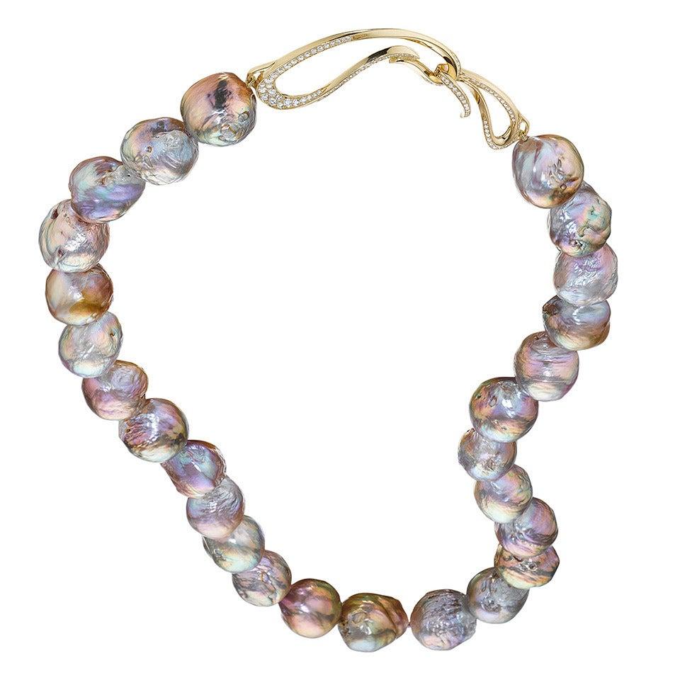 Naomi Sarna Pearl Diamond Gold Necklace For Sale