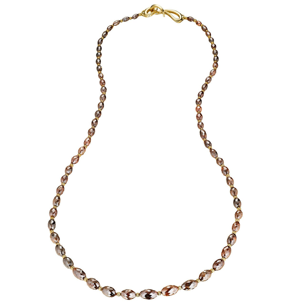 Naomi Sarna Brown Diamond Gold Bead Necklace For Sale