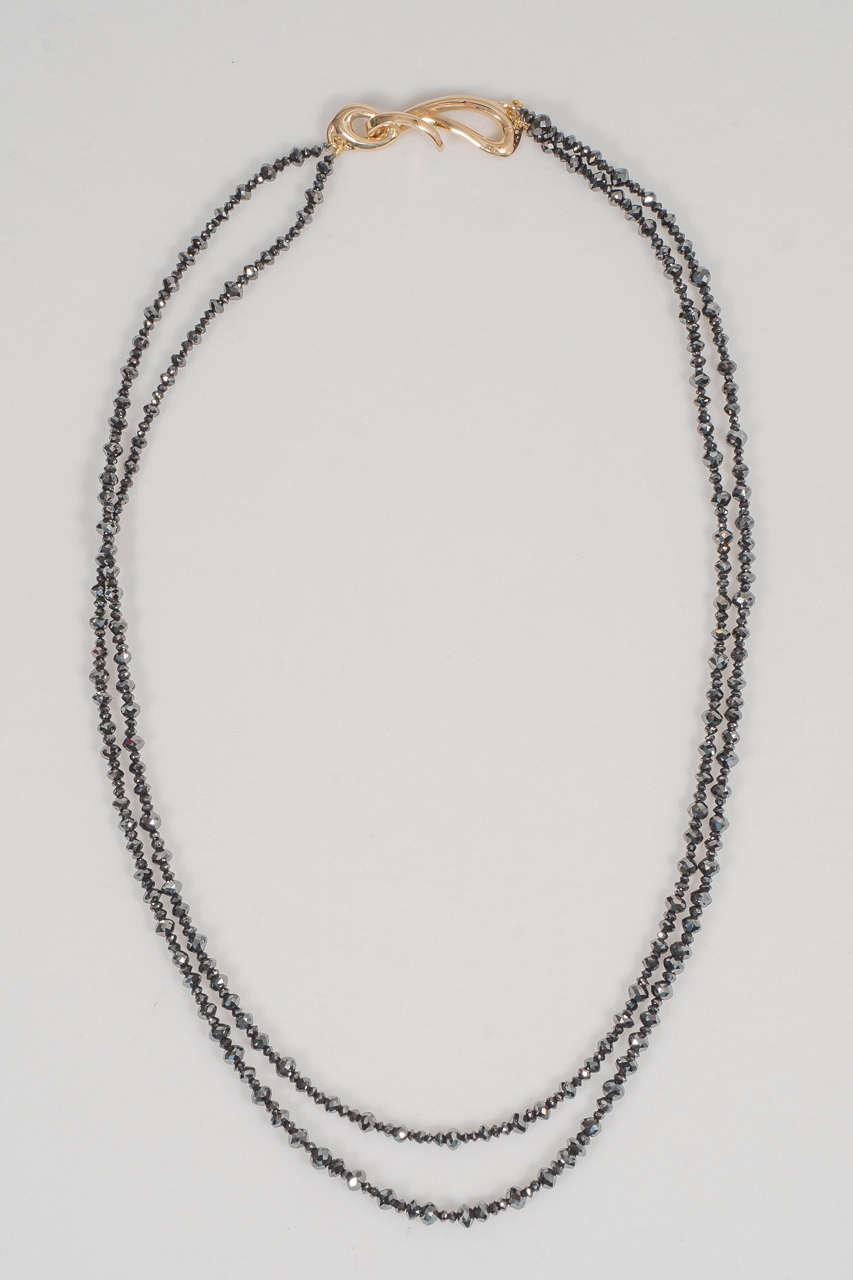 Naomi Sarna Two Strand Black Diamond Bead Necklace For Sale 1