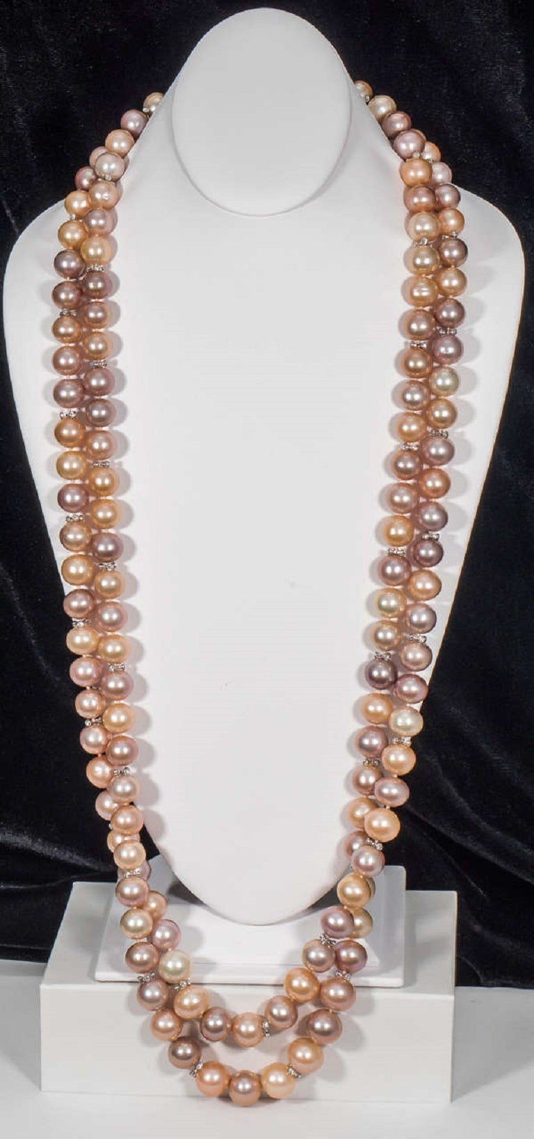 Naomi Sarna Double Strand Freshwater Pearl Diamond Gold Necklace 5