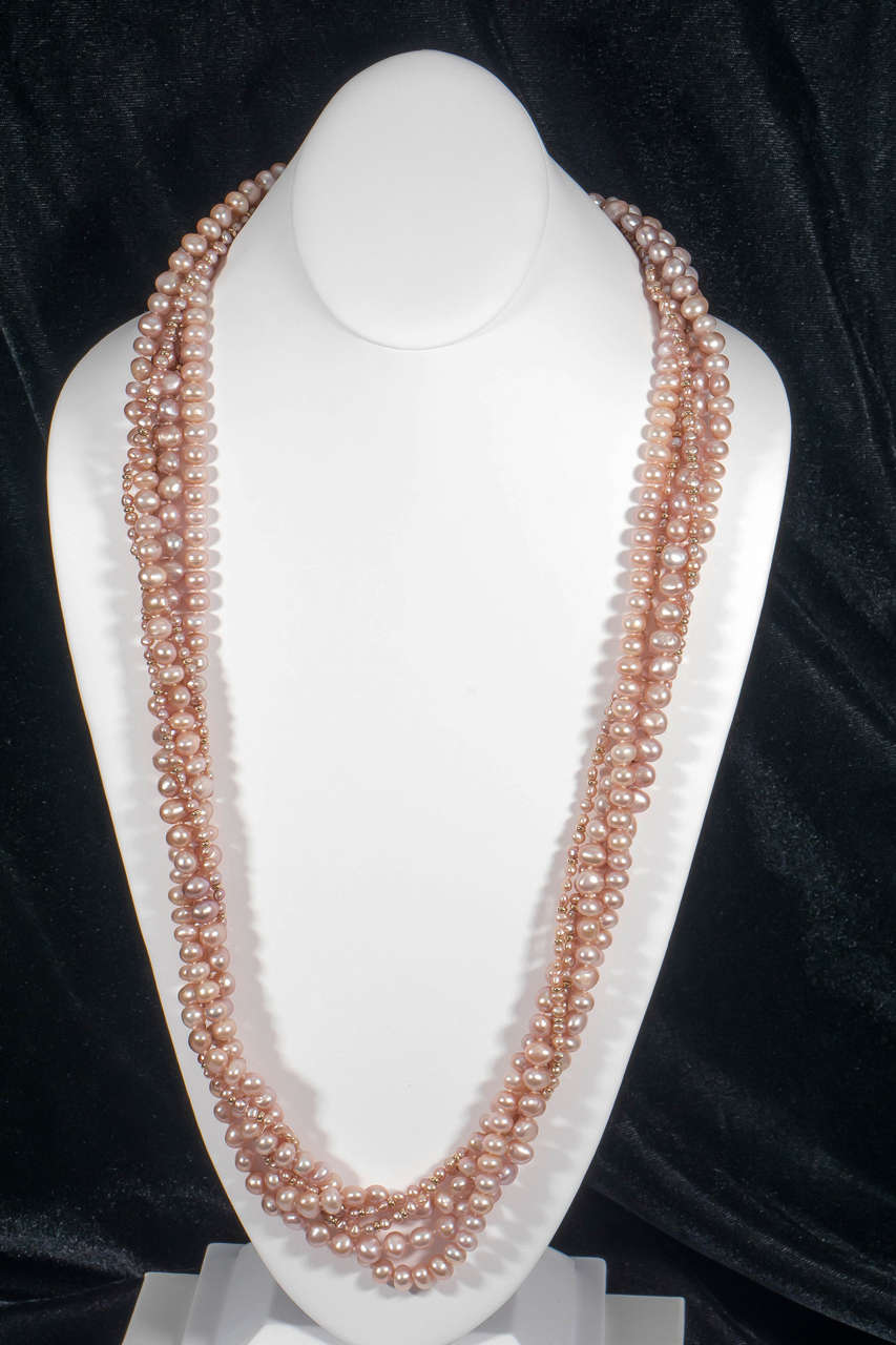 Naomi Sarna Five Strand Pink Pearl Gold Necklace 4
