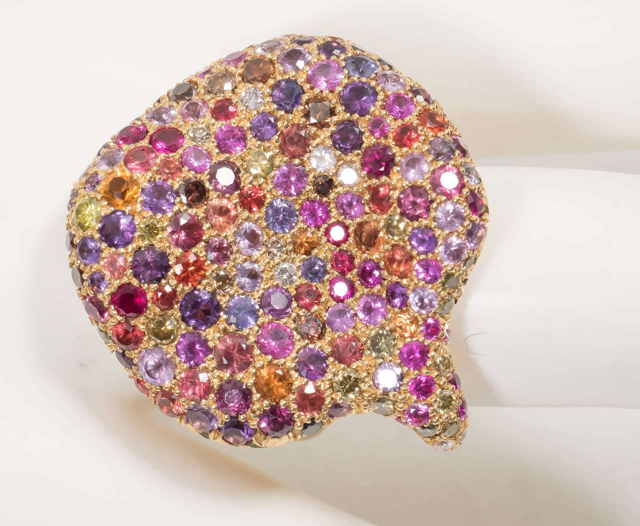Naomi Sarna Amethyst Garnet Ruby Sapphire Diamond Gold Autumn Ring In New Condition For Sale In New York, NY