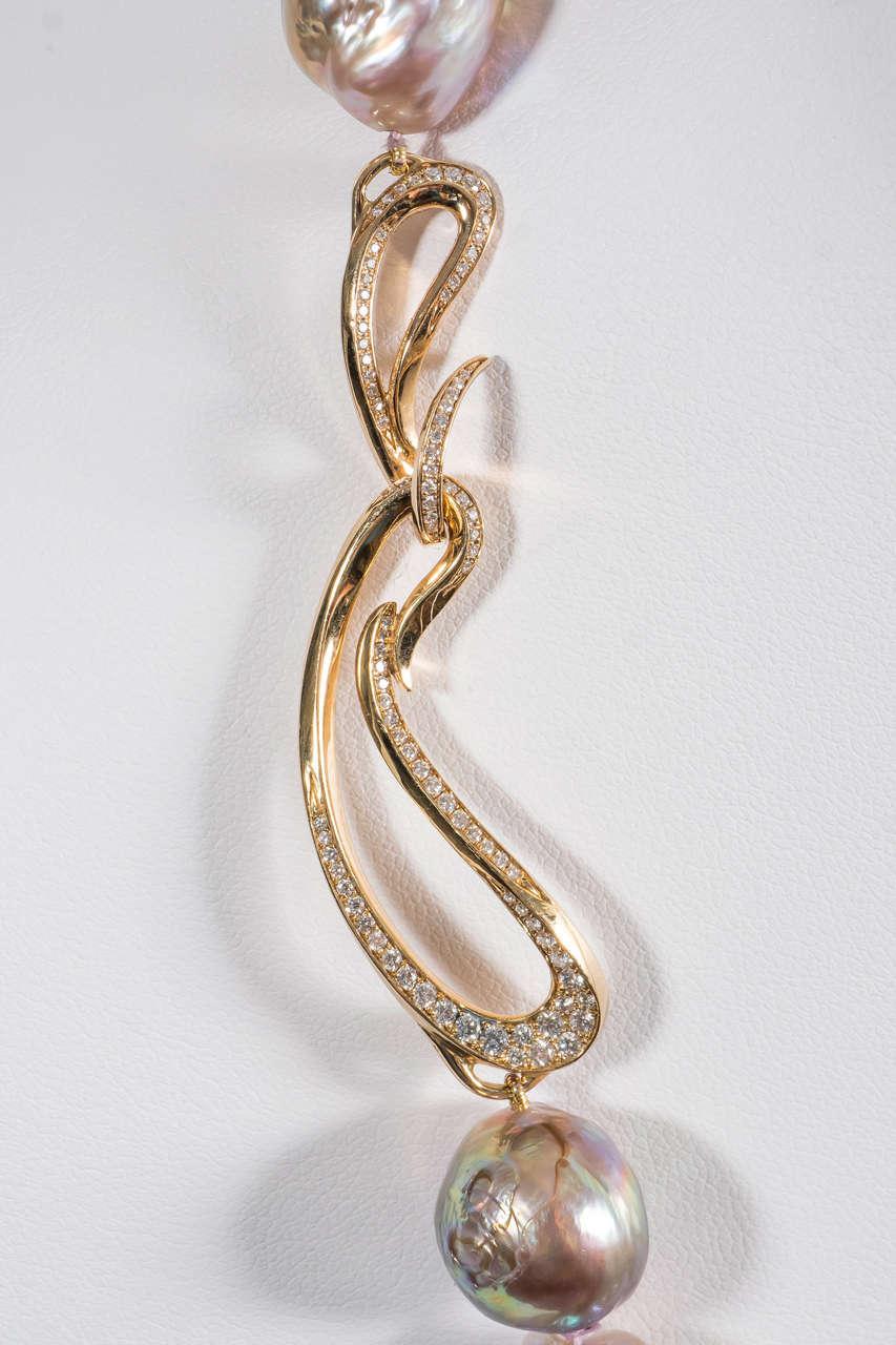 Naomi Sarna Pearl Diamond Gold Necklace For Sale 6