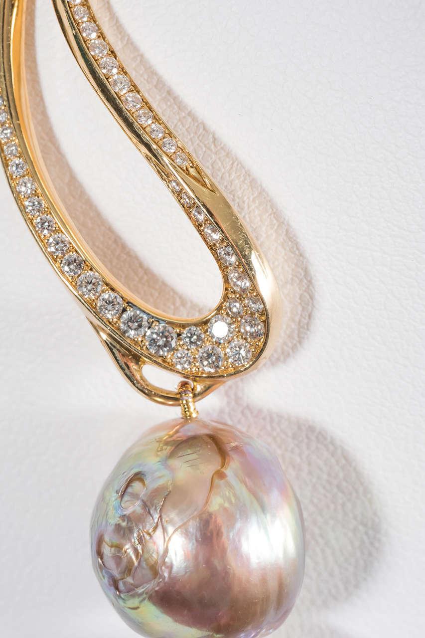 Naomi Sarna Pearl Diamond Gold Necklace For Sale 2
