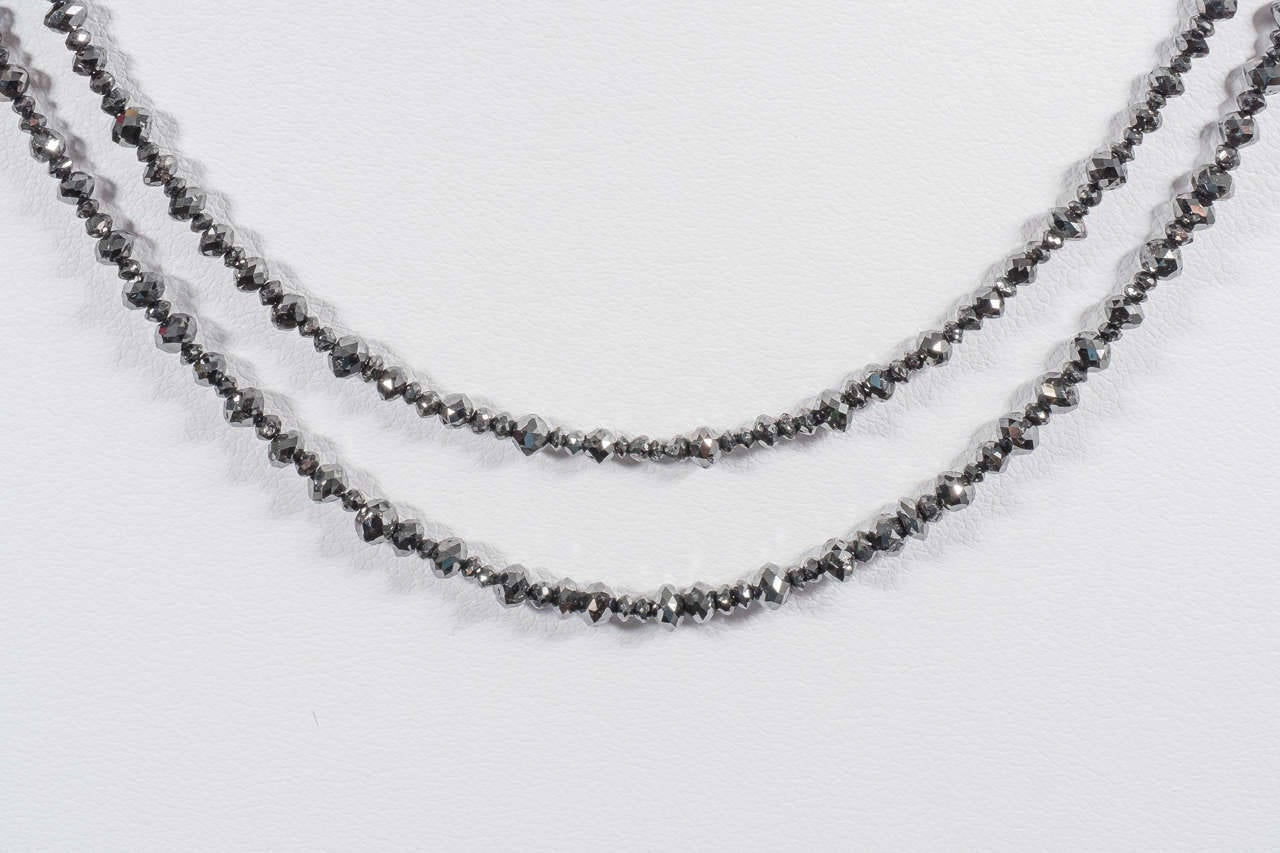 Naomi Sarna Two Strand Black Diamond Bead Necklace In New Condition For Sale In New York, NY