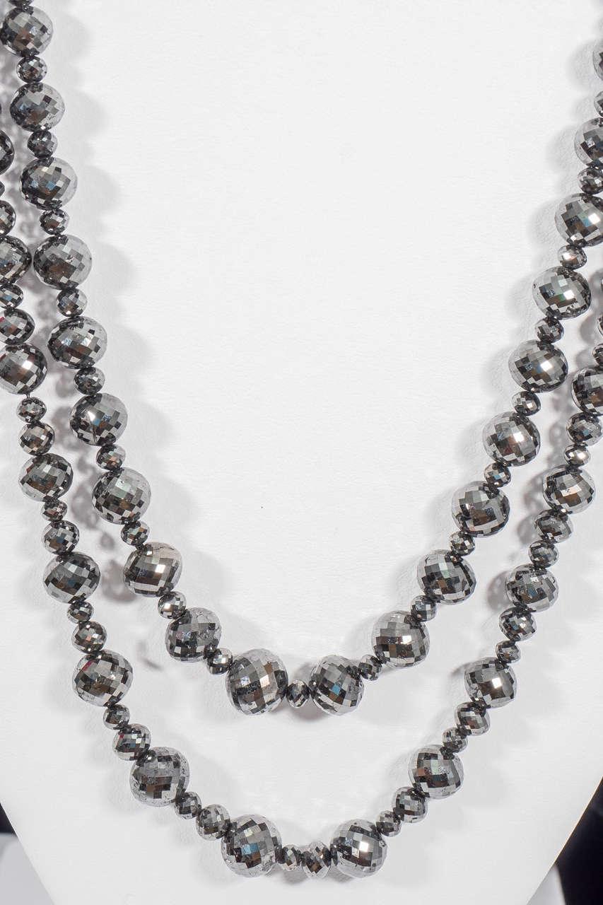 Naomi Sarna Black Diamond Necklace with 18K Gold and White Diamond Clasp For Sale 3