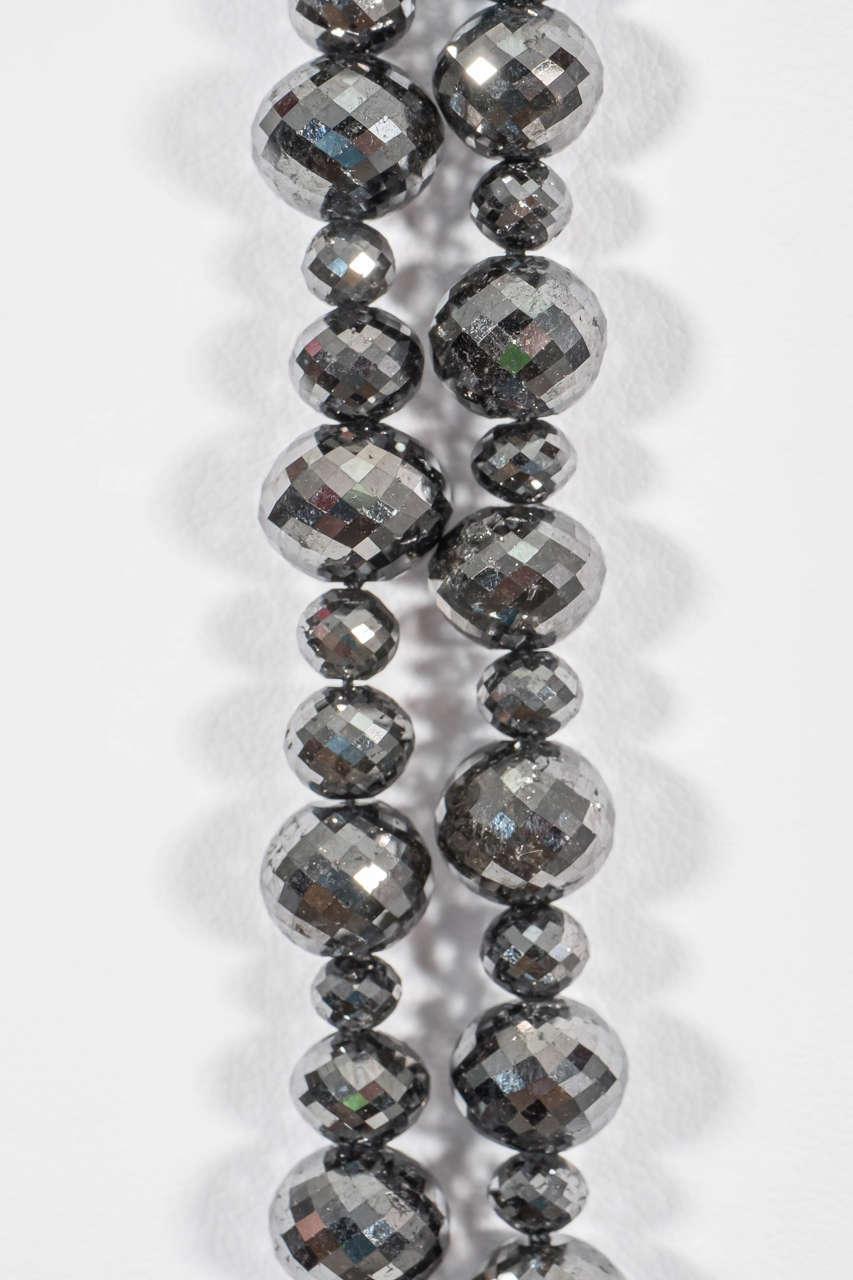 Naomi Sarna Black Diamond Necklace with 18K Gold and White Diamond Clasp For Sale 4