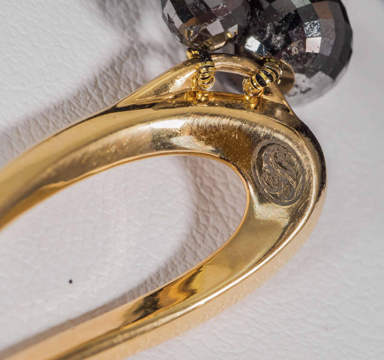 Naomi Sarna Black Diamond Necklace with 18K Gold and White Diamond Clasp For Sale 5