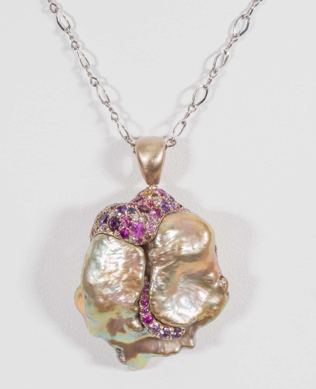 Women's Naomi Sarna Freshwater Pearl Sapphire Diamond Gold Pendant For Sale