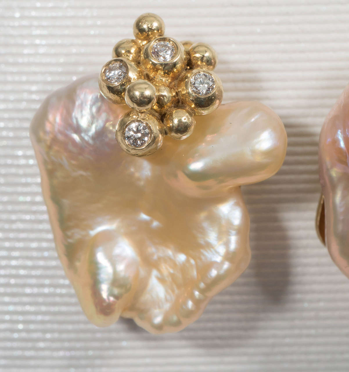 Women's Naomi Sarna Pearl Diamond Gold Earrings For Sale