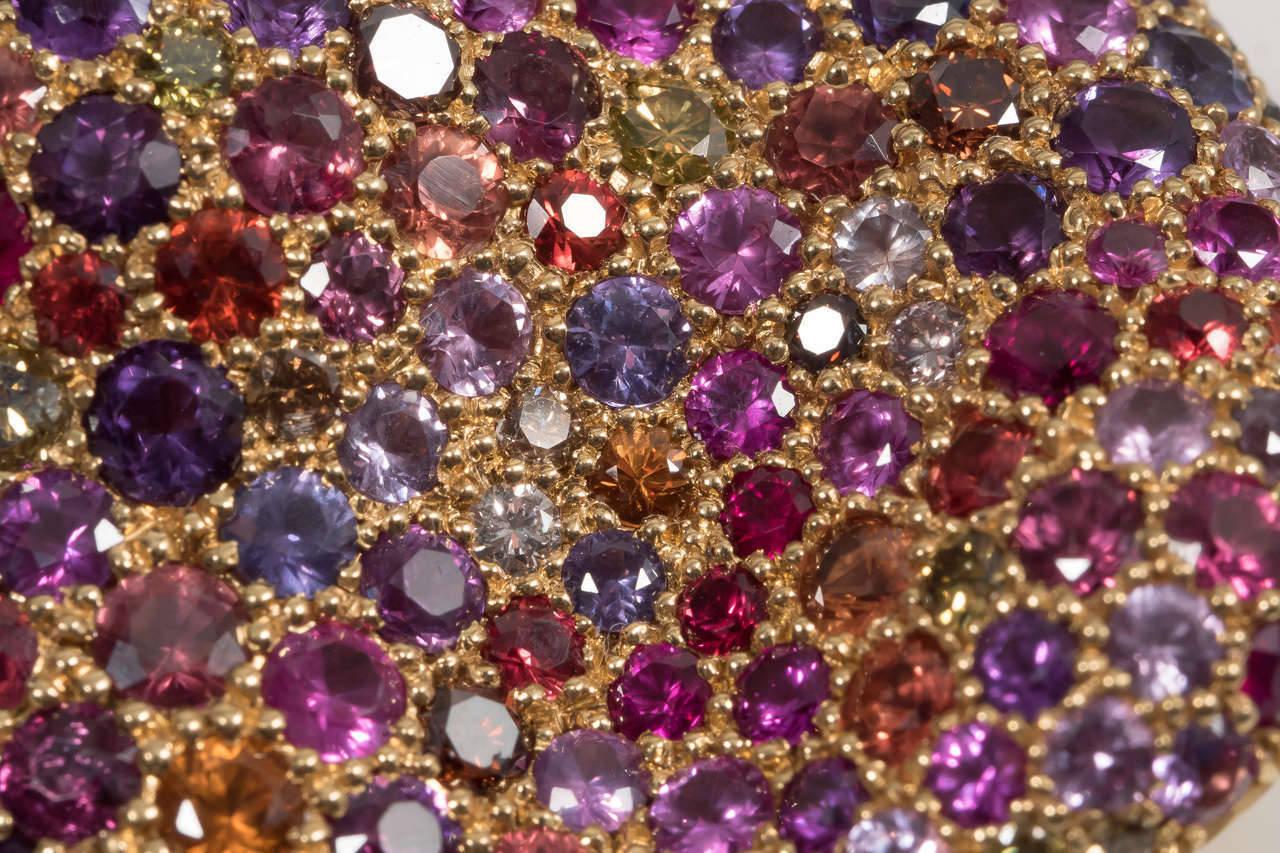 Women's Naomi Sarna Amethyst Garnet Ruby Sapphire Diamond Gold Autumn Ring For Sale