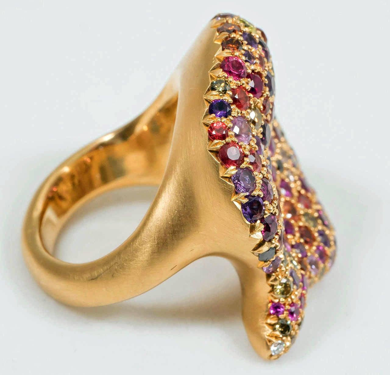 Naomi Sarna Amethyst Garnet Ruby Sapphire Diamond Gold Autumn Ring For Sale 2