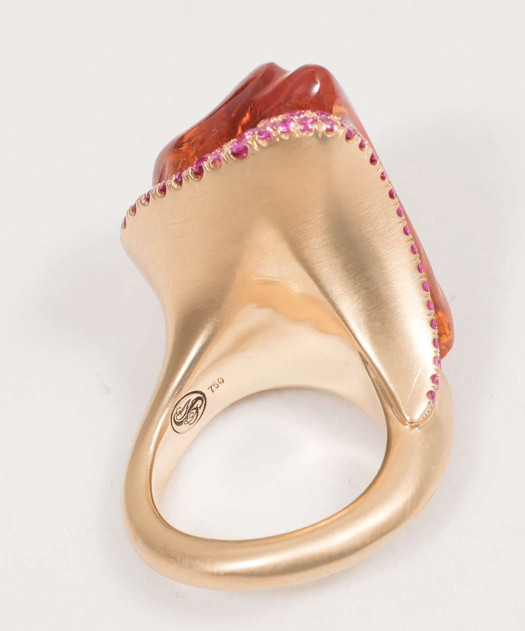 Women's or Men's Naomi Sarna Hand-Carved Citrine Pink Sapphire Gold Ring For Sale