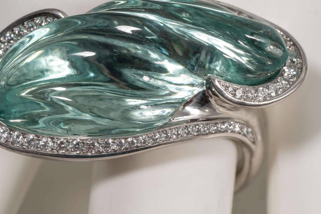 Naomi Sarna Award Winning Hand-Carved Topaz Diamond Palladium Ring In New Condition For Sale In New York, NY