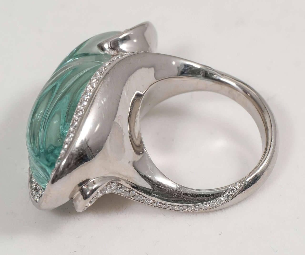 Naomi Sarna Award Winning Hand-Carved Topaz Diamond Palladium Ring For Sale 4