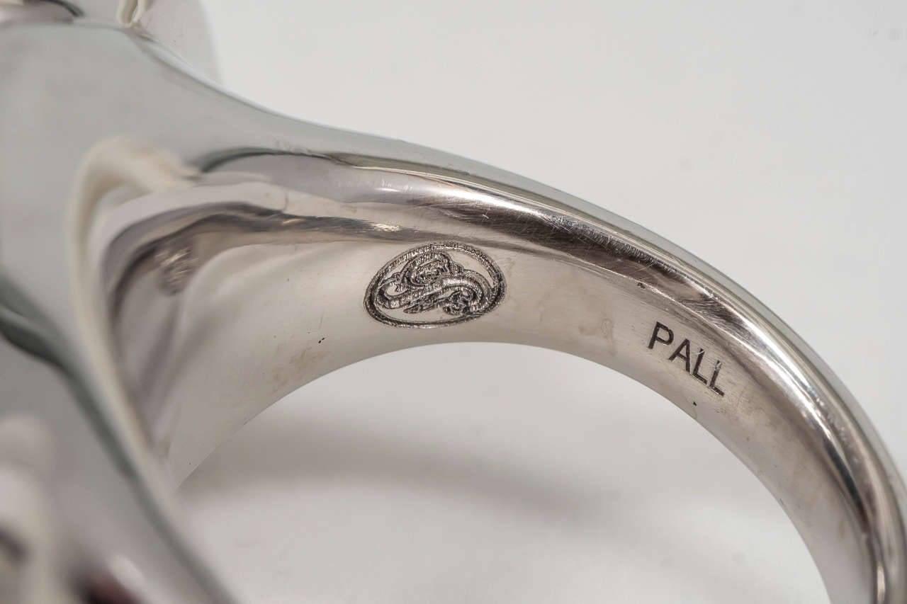 Naomi Sarna Award Winning Hand-Carved Topaz Diamond Palladium Ring For Sale 5
