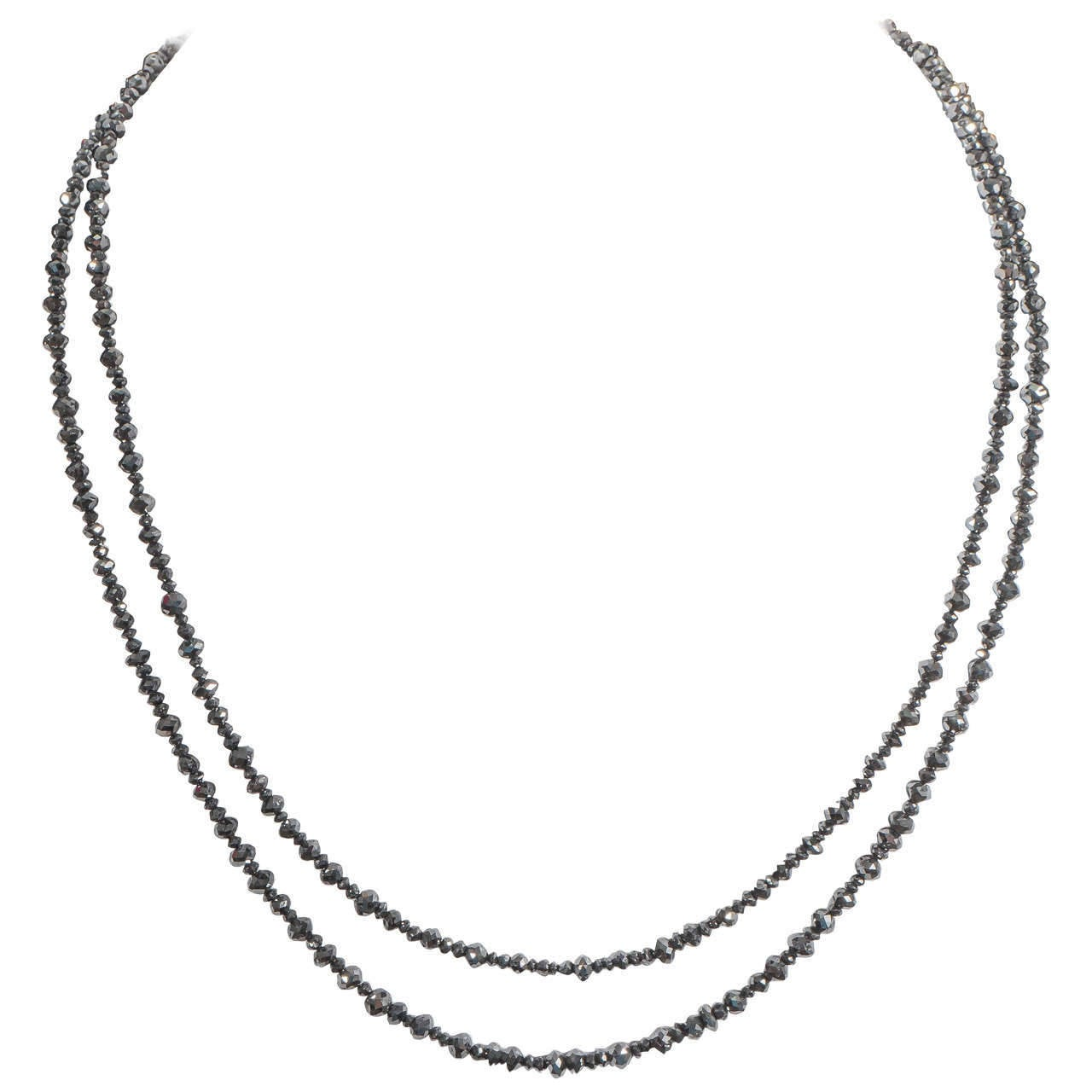 Naomi Sarna Two Strand Black Diamond Bead Necklace For Sale 4
