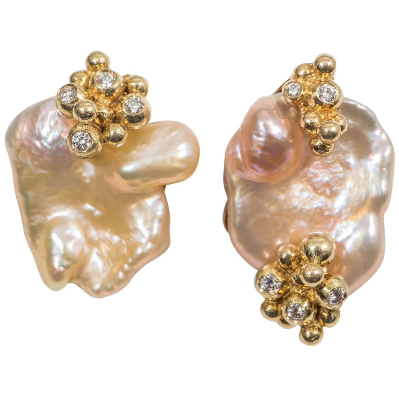 Naomi Sarna Pearl Diamond Gold Earrings For Sale 6