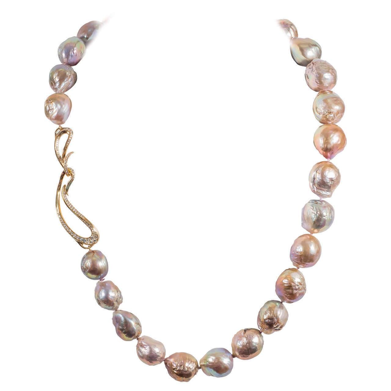 Naomi Sarna Pearl Diamond Gold Necklace For Sale 5
