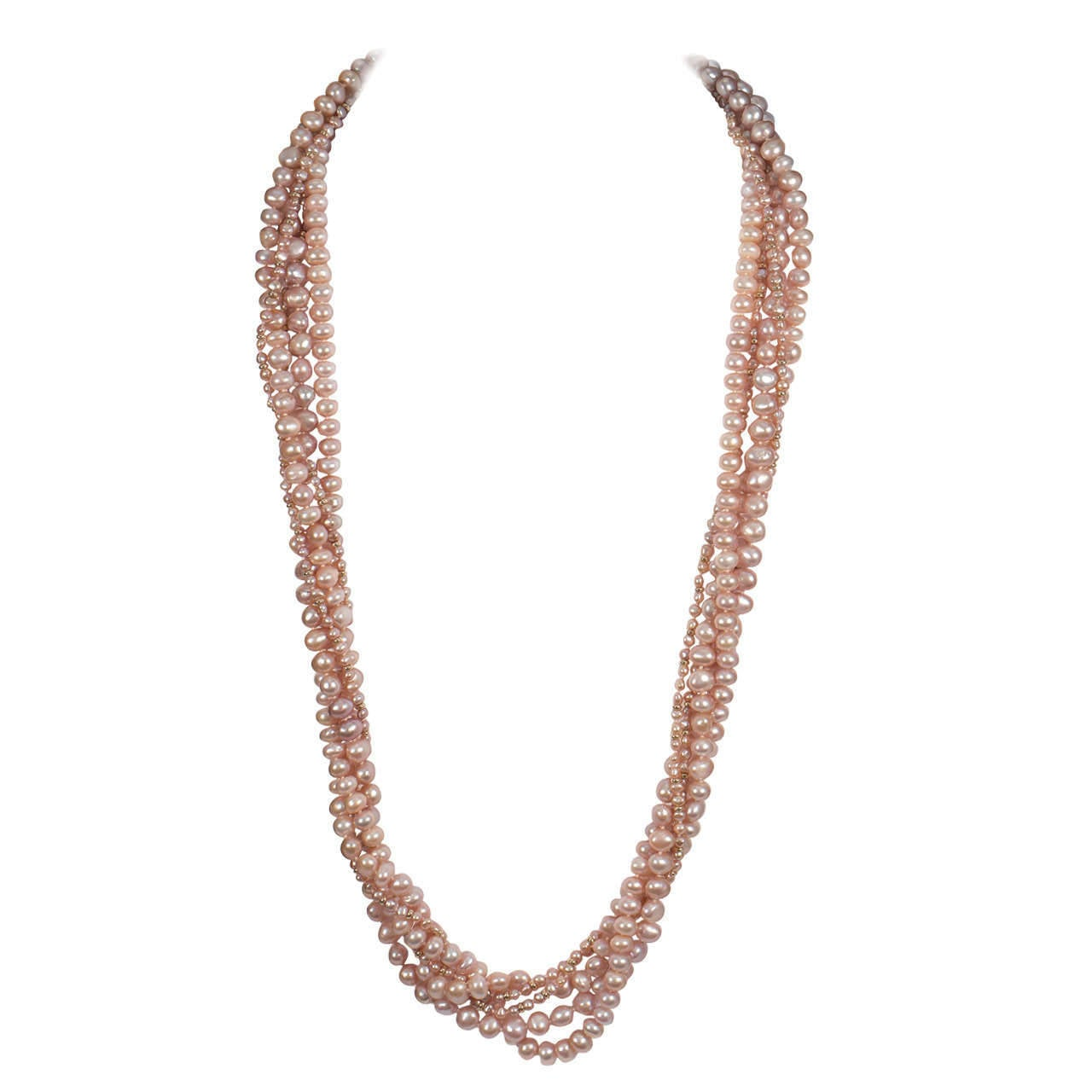 Naomi Sarna Five Strand Pink Pearl Gold Necklace 10