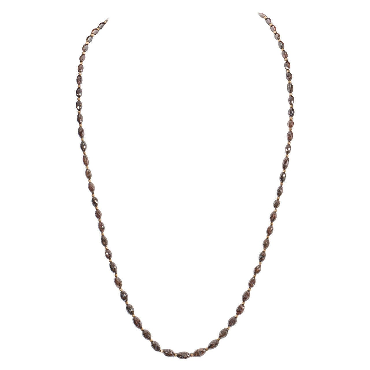Naomi Sarna Brown Diamond Gold Bead Necklace For Sale 6