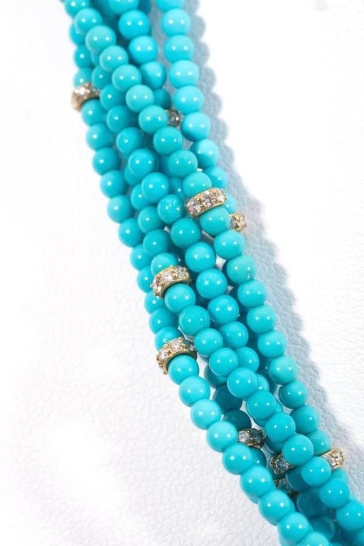 Naomi Sarna Turquoise Diamond Gold Necklace  In New Condition For Sale In New York, NY