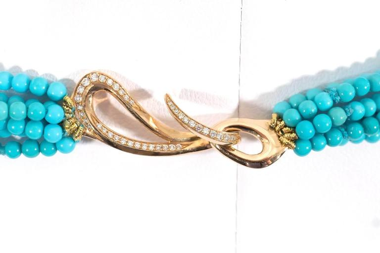 Women's or Men's Naomi Sarna Turquoise Diamond Gold Necklace  For Sale