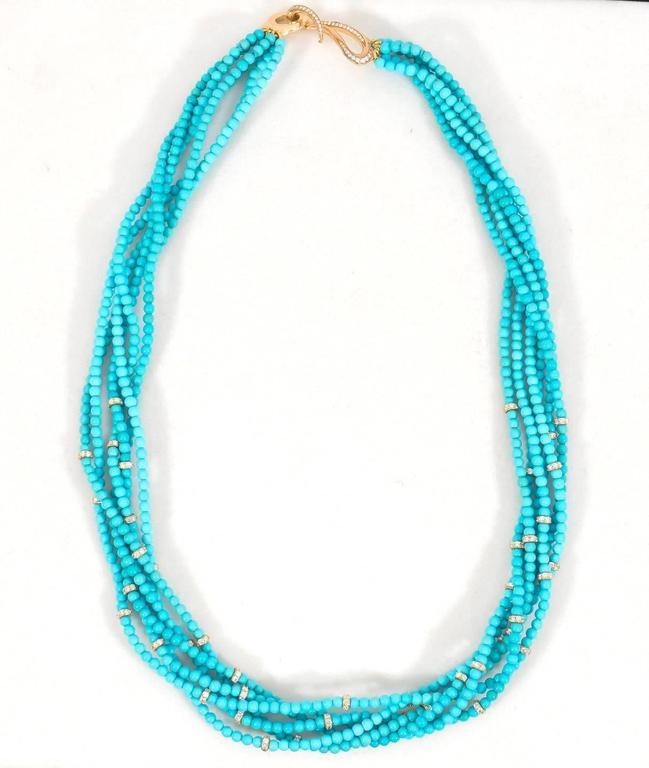 Naomi Sarna Turquoise Diamond Gold Necklace  For Sale 1