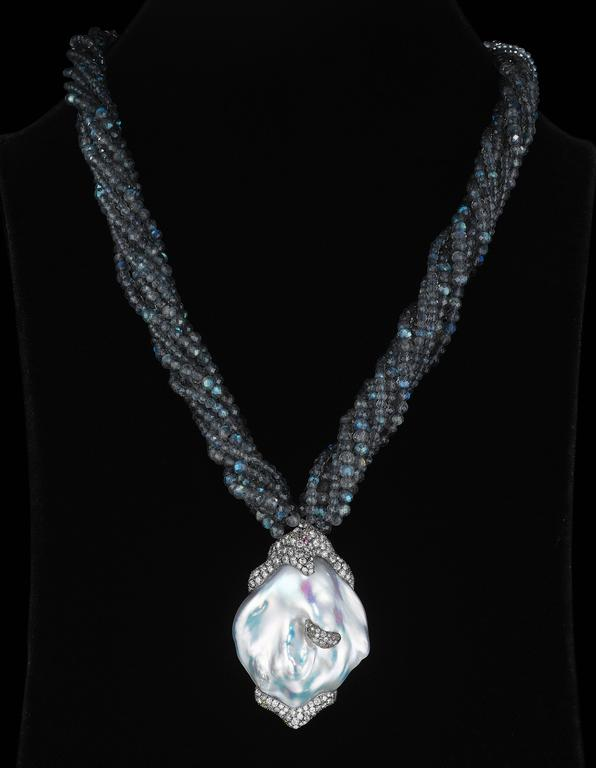 Naomi Sarna Pearl Diamond Labradorite Gold Necklace For Sale 2