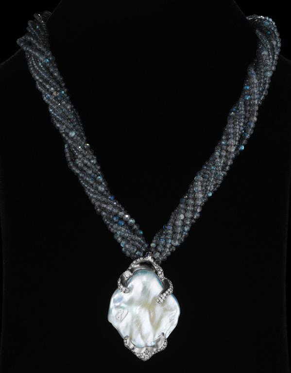 Naomi Sarna Pearl Diamond Labradorite Gold Necklace For Sale 3