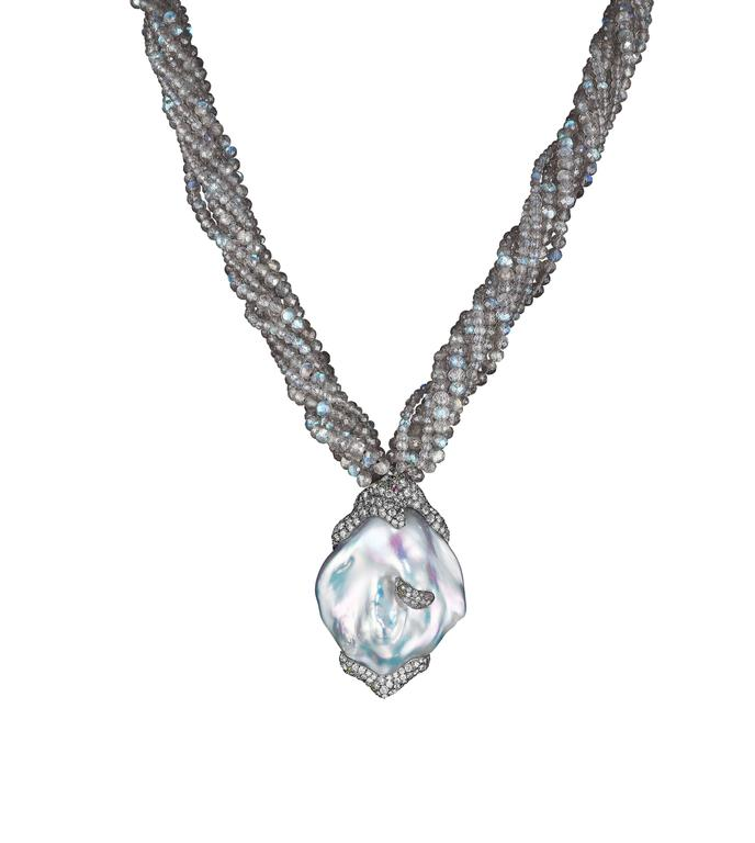 Naomi Sarna Pearl Diamond Labradorite Gold Necklace In New Condition For Sale In New York, NY