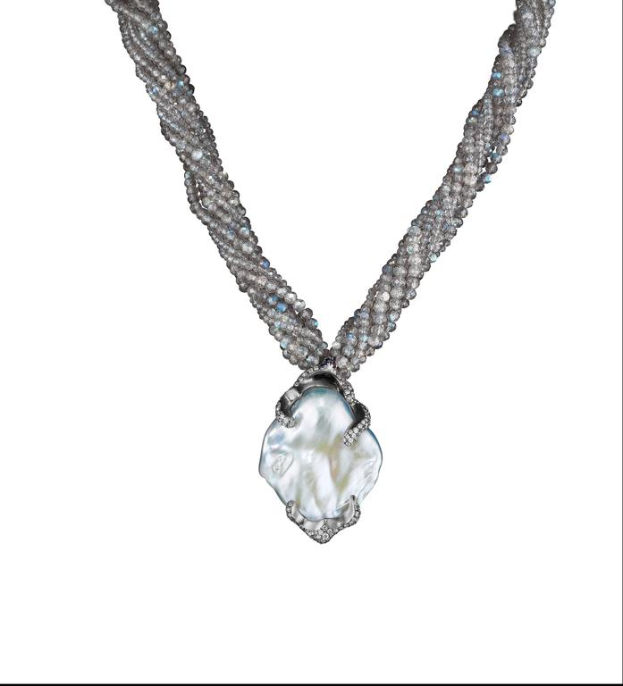 Naomi Sarna Pearl Diamond Labradorite Gold Necklace For Sale 1