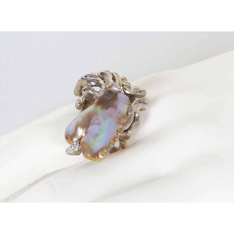 Naomi Sarna Freshwater Pearl Diamond Sapphire Gold Ring For Sale 2
