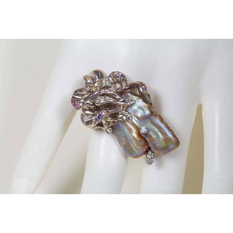 Women's Naomi Sarna Freshwater Pearl Diamond Sapphire Gold Ring For Sale