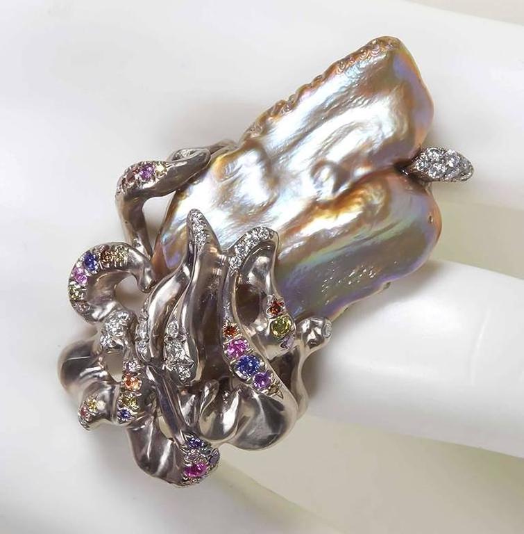Naomi Sarna Freshwater Pearl Diamond Sapphire Gold Ring For Sale 1