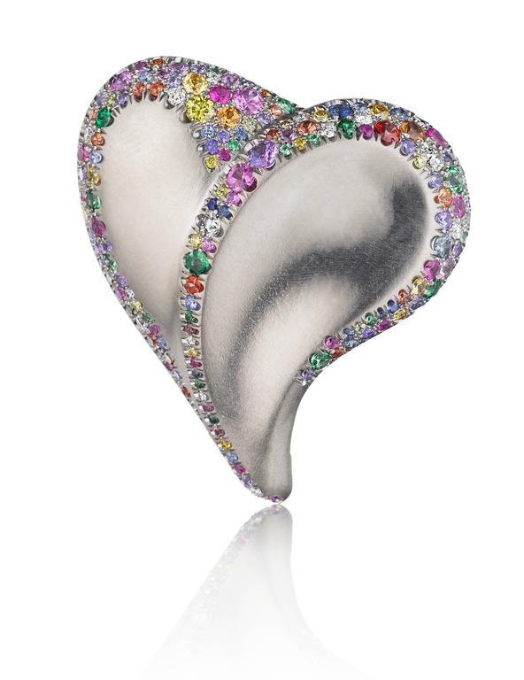 Naomi Sarna Confetti Heart Ring In New Condition For Sale In New York, NY