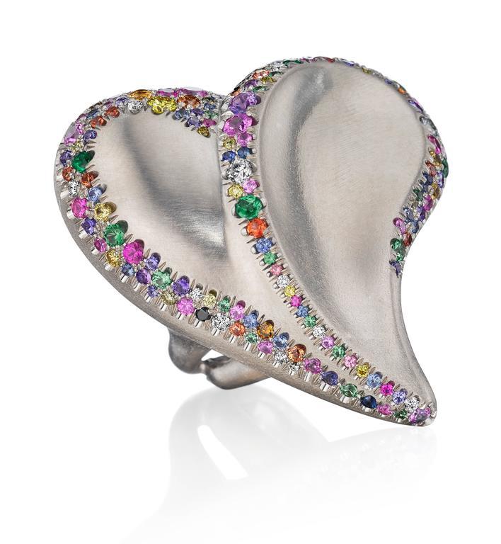 Women's or Men's Naomi Sarna Confetti Heart Ring For Sale