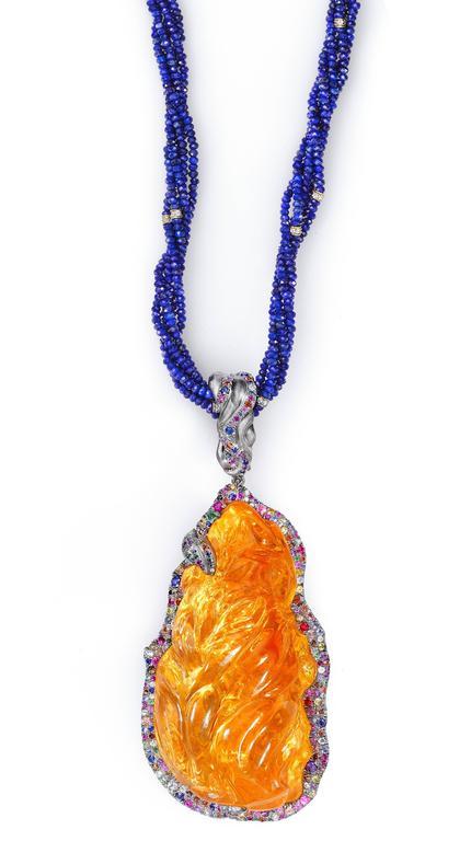 Naomi Sarna Fire Opal Multi-Color Diamond Sapphire Lapis Lazuli Necklace For Sale 3