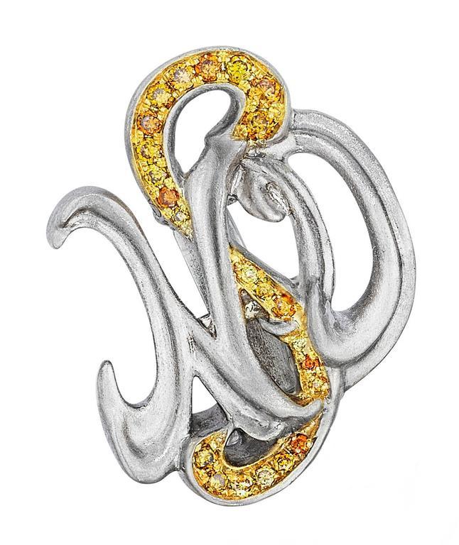 Women's Naomi Sarna Sapphire Diamond Gold Maple Leaf Earrings For Sale