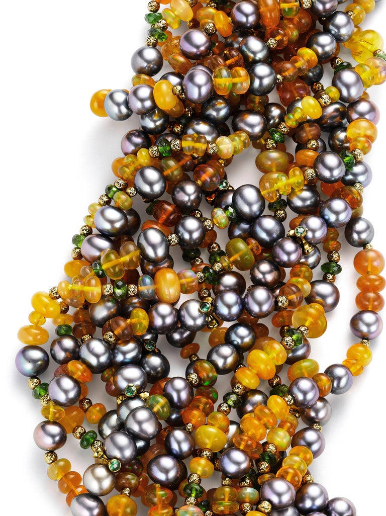 Naomi Sarna Orange Opal, Black Pearl, Chrome Diopside, Tsavorite, Gold Necklace In As New Condition For Sale In New York, NY