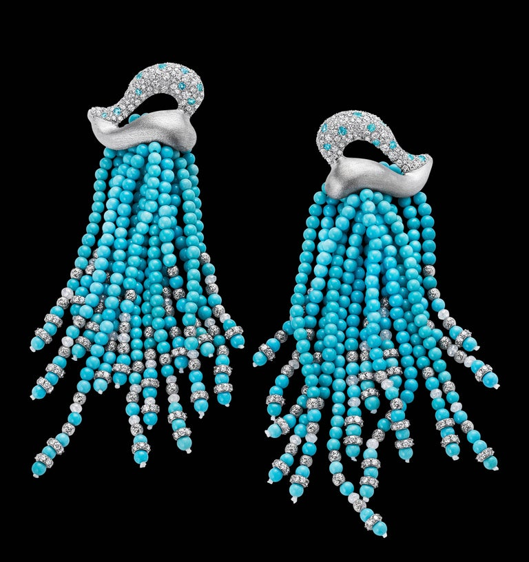 Naomi Sarna Turquoise Diamond Paraiba Tassel Earrings In As New Condition For Sale In New York, NY