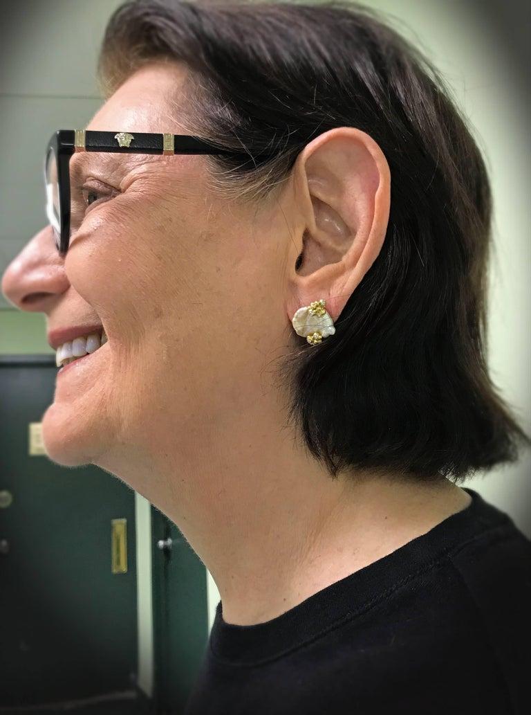 Naomi Sarna Pearl Diamond Gold Earrings For Sale 7